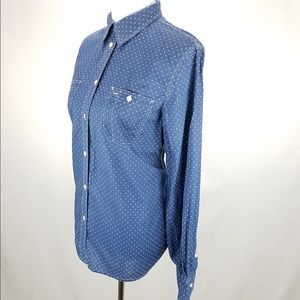Ralph Lauren Jeans Co Chambray Polka Dot Top XL